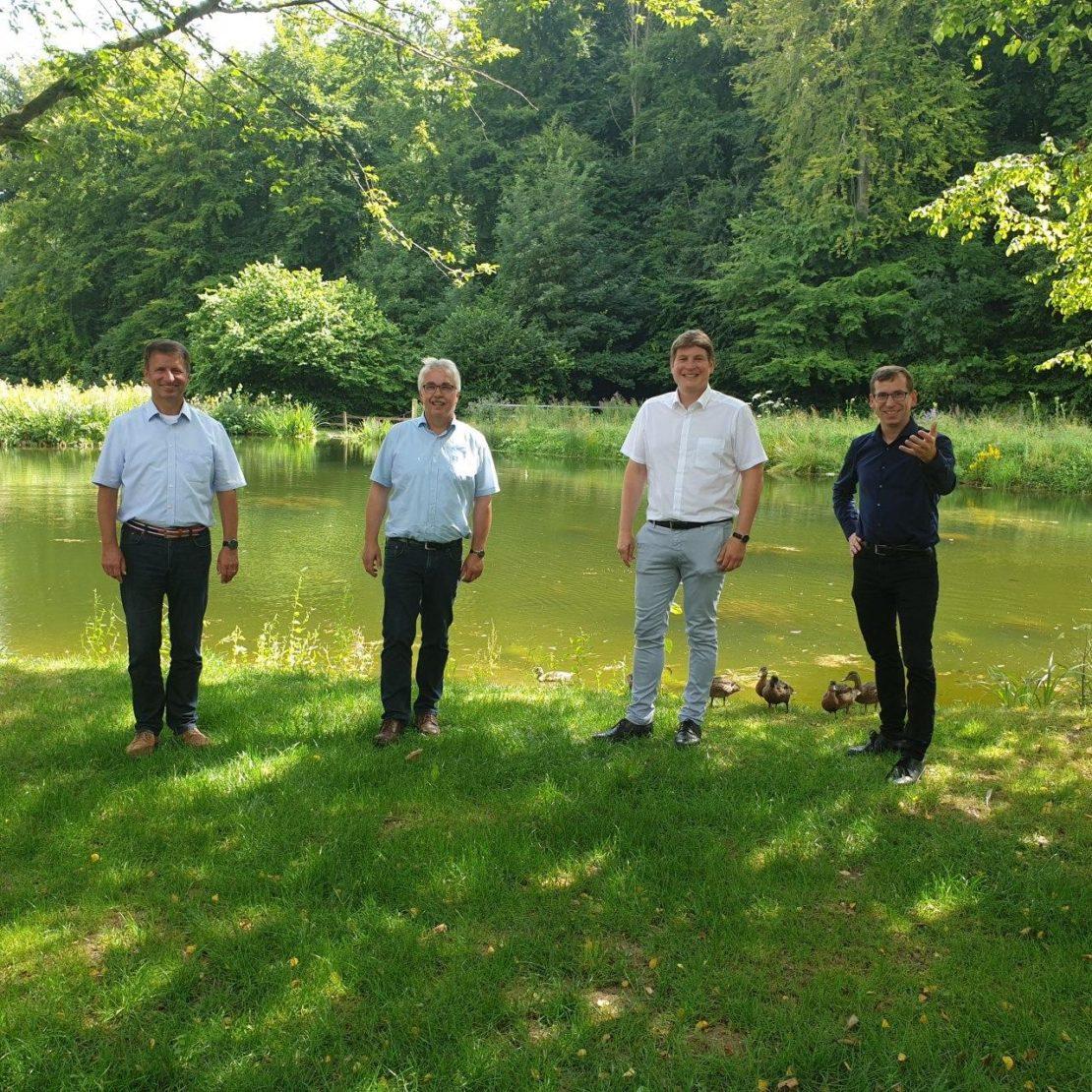 v.l.n.r.: Landratskandidat Michael Stickeln, die Bürgermeisterkandidaten Norbert Hofnagel, Nicolas Aisch und Tobias Scherf